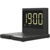 15W Fast Qi Wireless Charger Desk USB Alarm Clock 3in1 - Black